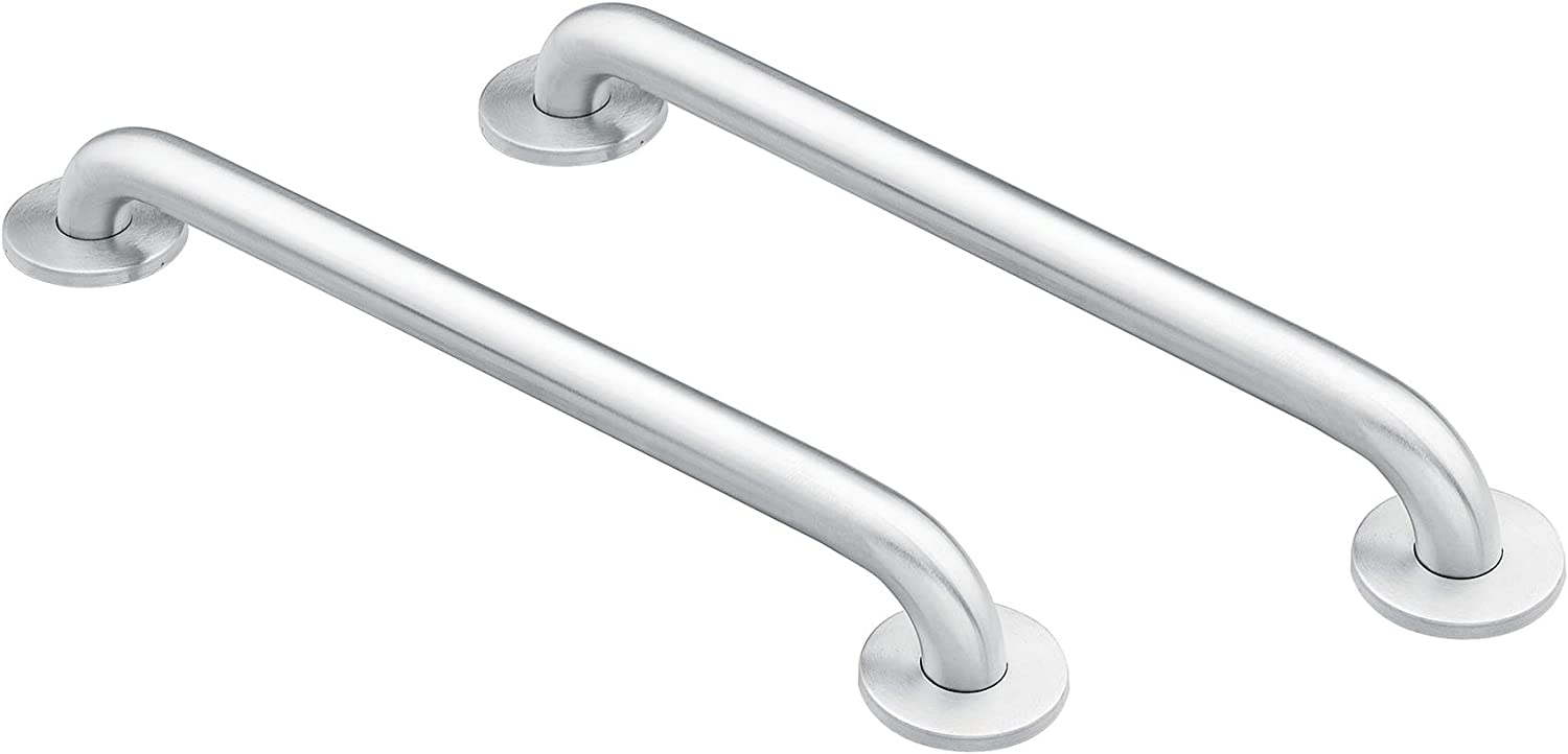 Moen 8724 Home 24-Inch Bathroom Grab Bar, Stainless AND Moen 8912 Home 12-Inch Bathroom Grab Bar, Stainless Steel