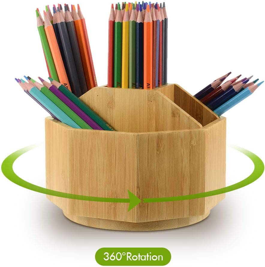 Bamboo Rotating Art Supply Desk Organizer, Pencil Holder with 5 Compartments, Desktop Storage Caddy for Pen, Paint Brushes, Make up brushes Works in Office & Classroom & Art Studio & Makeup Vanity