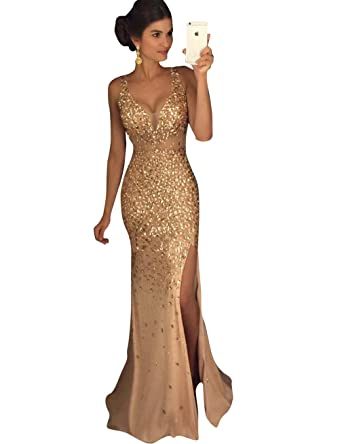c6ae54f6b Amazon.com  KISSBRIDAL Women s Sexy V Neck Formal Evening Gown Side Slit  Party Prom Dress  Clothing