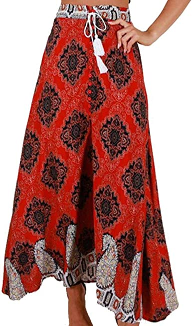 Vintage Retro Falda Larga Plisada Cintura Boho Alta Falda Flores ...