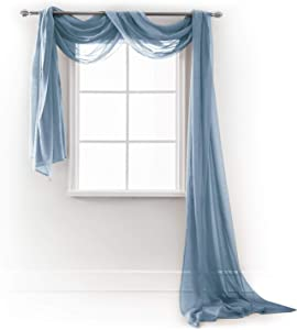 """MEMIAS Window Sheer Elegant Voile Curtain Scarf for Home, Birthday Party, Wedding Decoration, 1 Panel 54"""" W x 216"""" L, Quite Blue"""