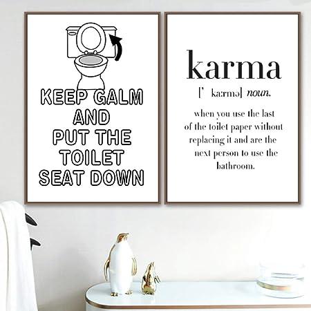 WC Papel Karma Cita Divertido Cartel Arte de La Pared ...