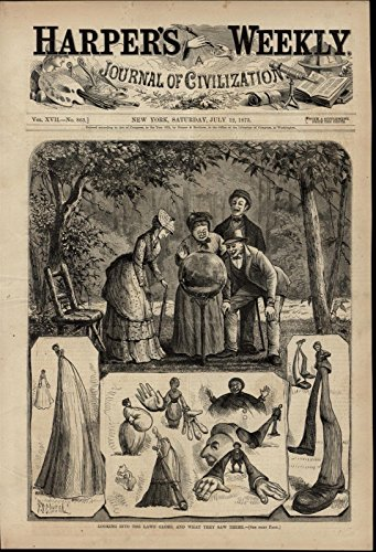 Looking into a Lawn Globe Distorted Reflections 1873 great old print for ()