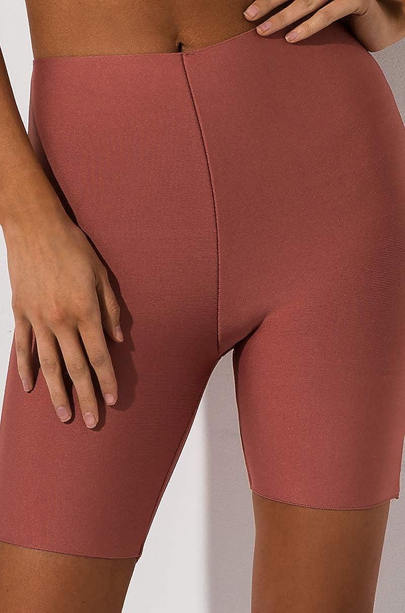 AKIRA Womens Bandage Knit High Waist Stretch Bodycon Biker Bike Shorts