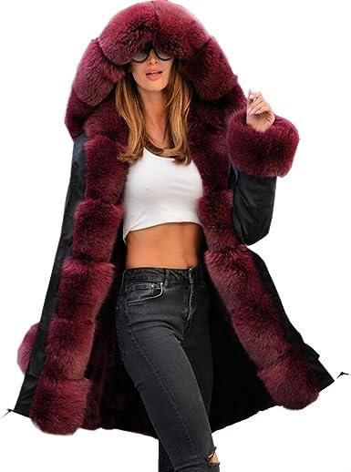 TALLA 36. Abrigo de mujer Roiii con capucha, pelo sintético, estilo informal, talla 38 a 50