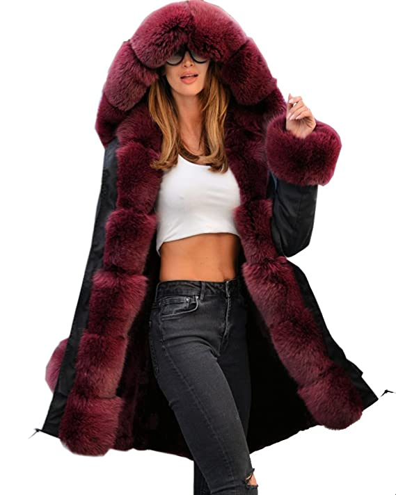 Aofur Black Ladies Fur Lining Coat Womens Winter Warm Thick Long Jacket Outdoor Hooded Parka Trench Coat at Amazon Womens Clothing store: