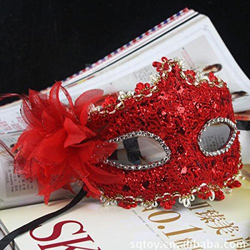 [Lily's Gift New Eye Face Mask with Feather Flower for Masquerade Halloween Costume Red] (Red Masquerade Mask)
