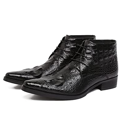 4554bb80544 Santimon Men's Genuine Alligator Leather Ankle Boots Causal Boots