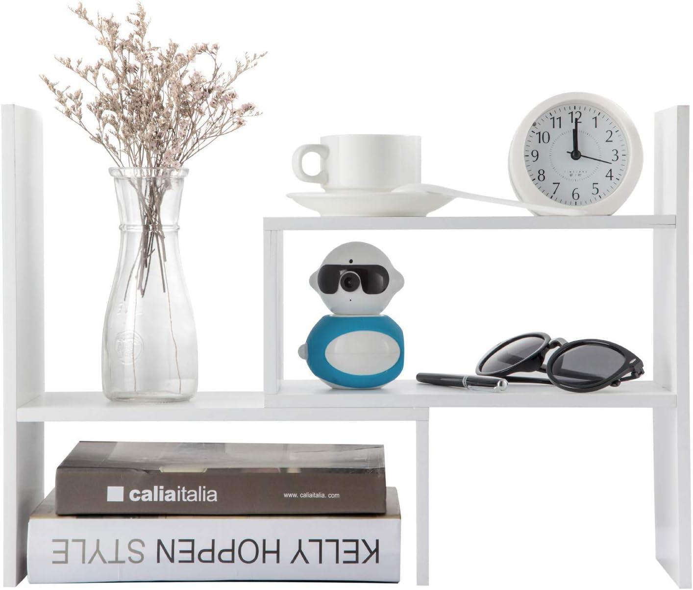 Home-Neat Wood Adjustable Desktop Storage Organizer Display Shelf Rack, Office Supplies Desk Organizer (Black) (Black)