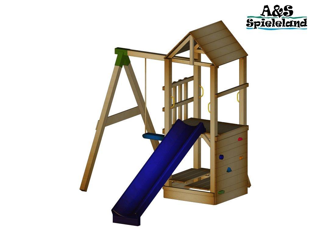 Spielturm CHRIS 2.0 Set 1 Rutsche 240 cm Kletterturm Schaukel 9x9 Postenstärke