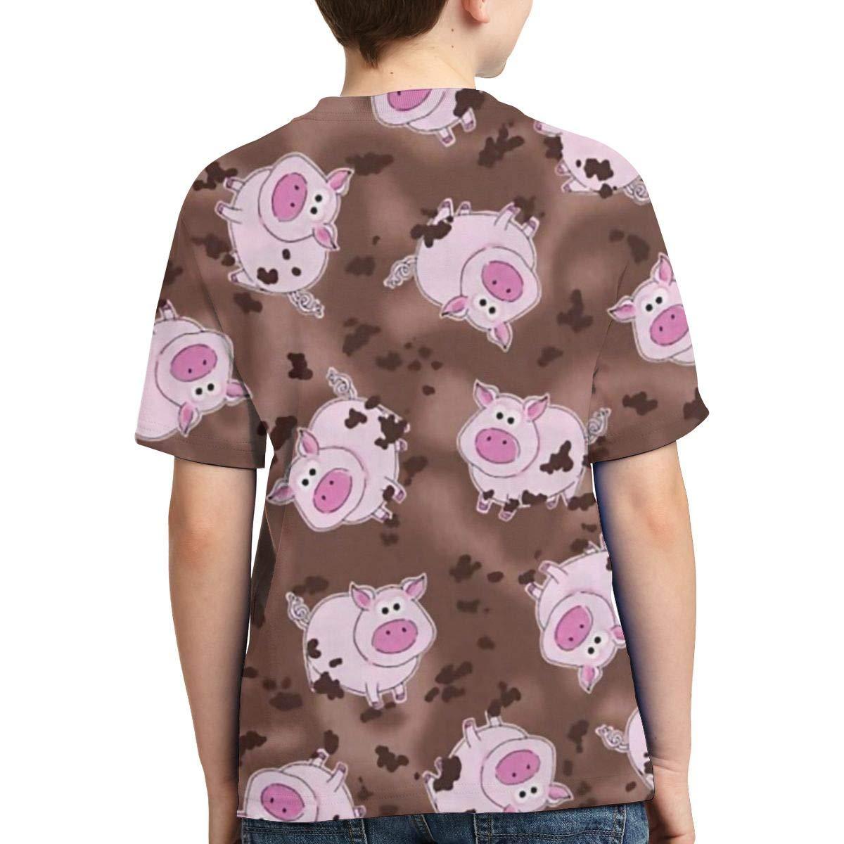 XS-XL Short-Sleeve Pink Pigs Shirts for Kids Cute Tunic Shirt Dress