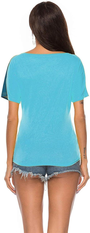 WinCret Camisetas Mujer Manga Corta Blusa de Costura Color de Contraste Cuello Redondo Moda Camisas Top Patchwork Verano Casual