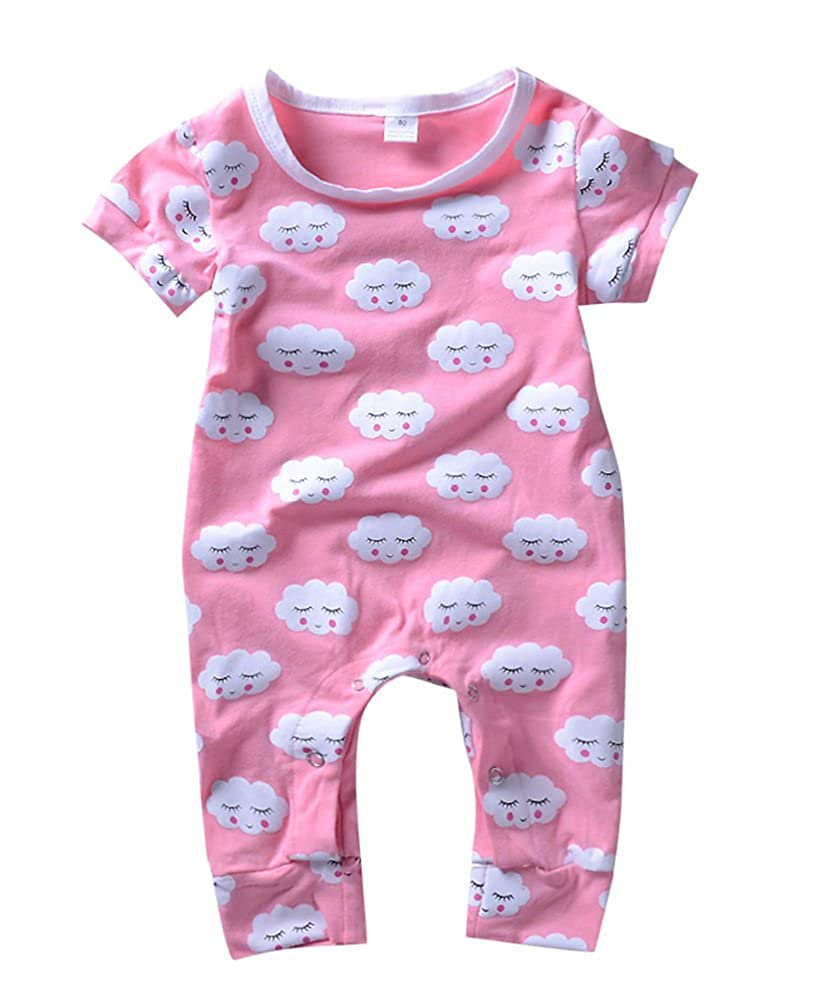 Babywow Infant Baby Girl Romper Cloud Print Jumpsuit Shorts Summer One Piece Outfit