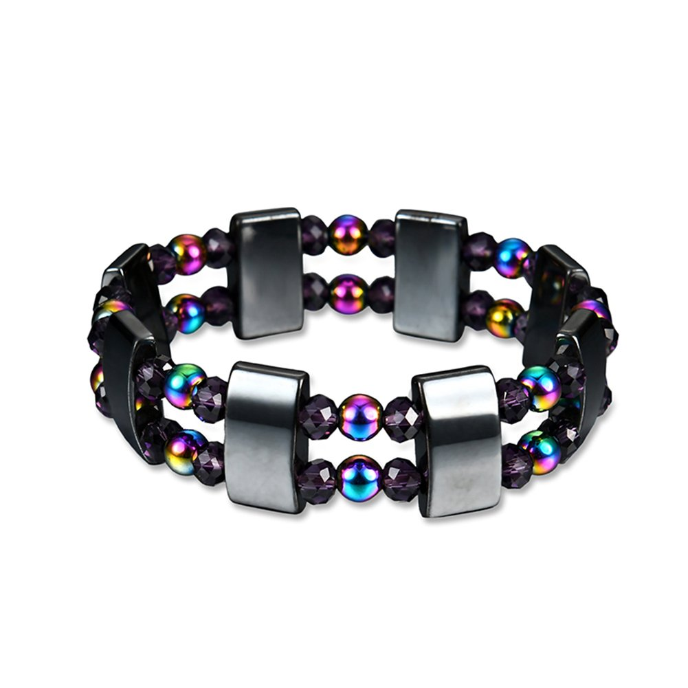 Ameesi Double Layers Multi-Color Beads Magnetic Hematite Bracelet Pain Relief Jewelry - Multi-Color