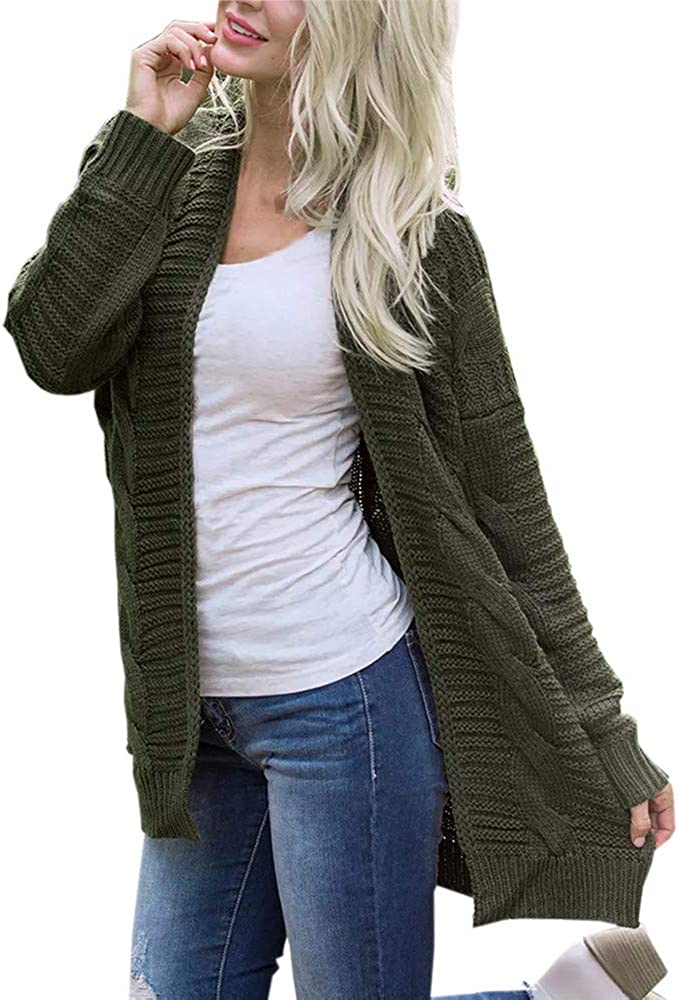 Longra Womens Solid Color Knitwear Cardigan Open Front Sweaters Long Sleeve Casual Autumn Winter Outerwear