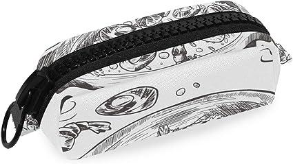 Paella - Estuche para lápices con cremallera, tamaño grande, ideal para guardar cosméticos, maquillaje, cosméticos, oficina o viajes, diseño de comida española: Amazon.es: Oficina y papelería