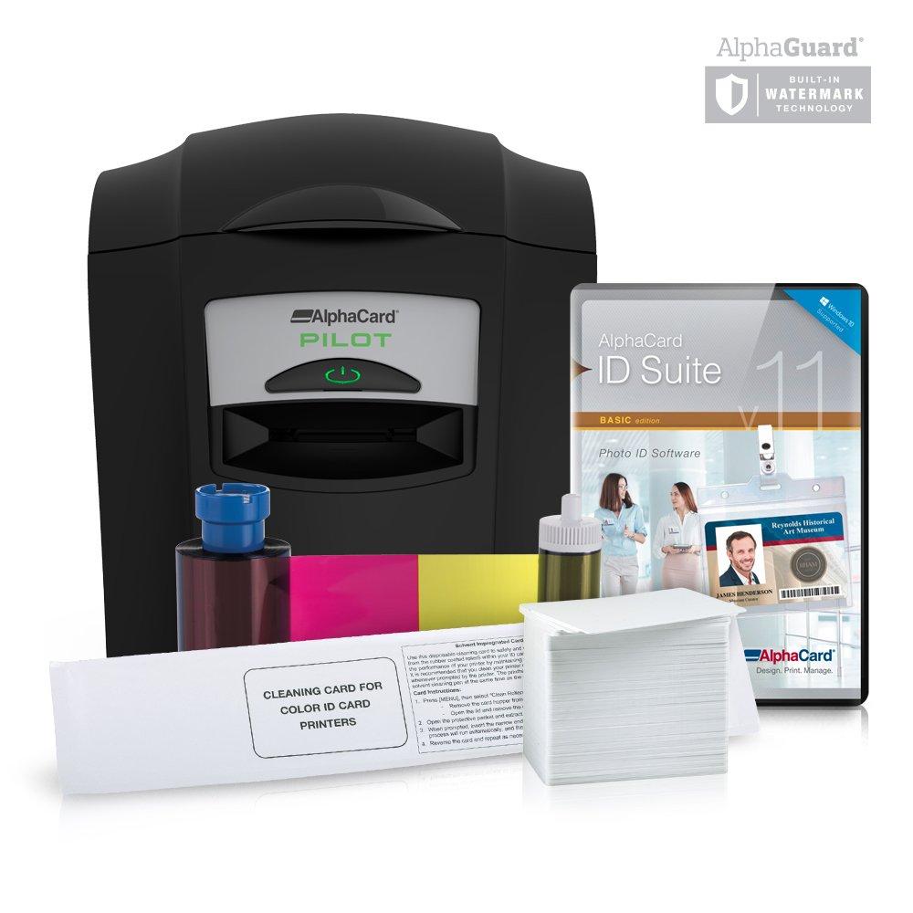 Complete AlphaCard ID Card Printer Bundle: AlphaCard Pilot ID Printer, AlphaCard ID Software, ID Supplies (Complete Bundle for PCs, Pilot Printer)
