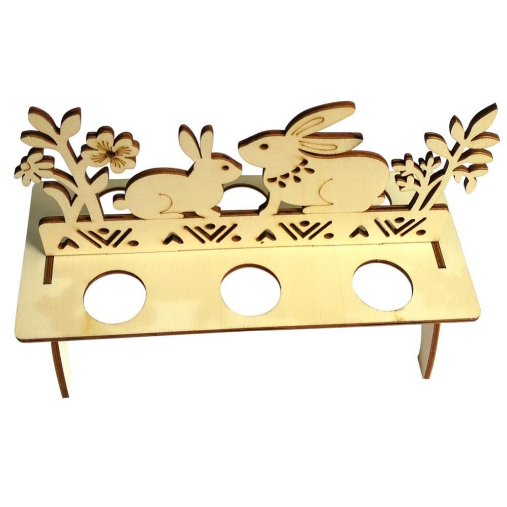 B Spritumn Wooden Easter Egg Shelves for Kids Bunny Hen Pattern Carry Hold Eggs Storage Holders DIY Home Decor Gift