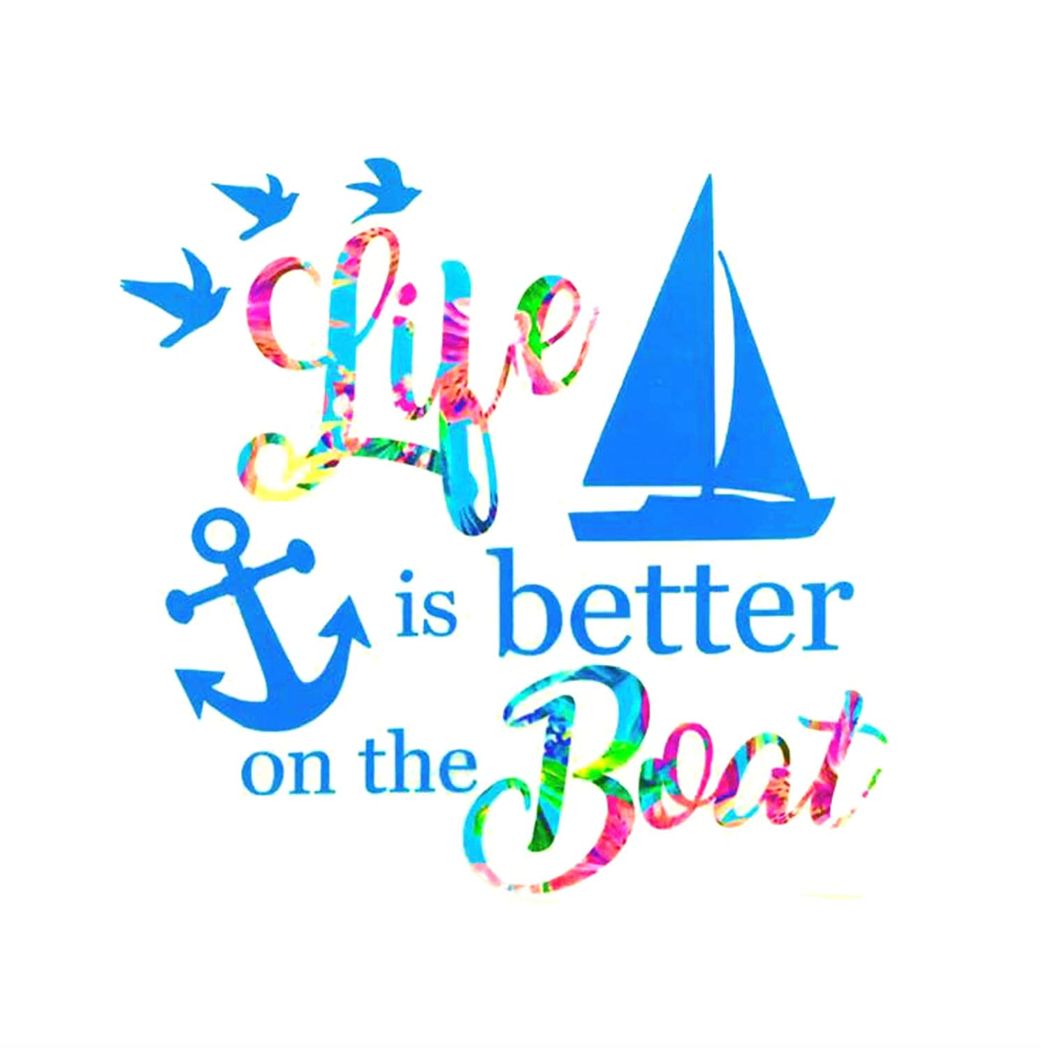 Tumbler Boat Decal Bumper Laptop Choose Size//Pattern Water Bottle Life is Better on the Boat Vinyl Decal Sticker Gift Mom Car Window