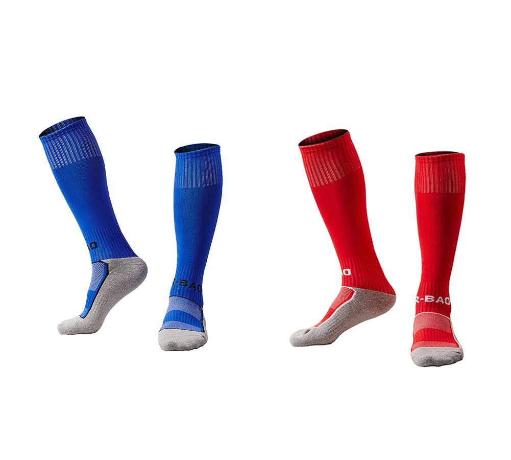 OUAYJI kids Knee High Sport Towel Bottom training compression Soccer Football Socks 2 pairs blue&red by OUYAJI