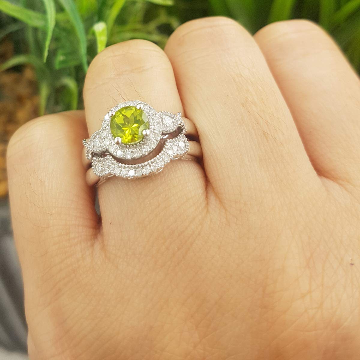 Dazzlingrock Collection 10K 6 MM Round Peridot & White Diamond Ladies Halo Engagement Ring Set, White Gold, Size 8 by Dazzlingrock Collection (Image #5)