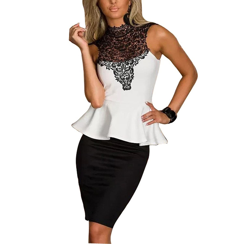 Maxhaha Women's Crochet Lace Top High Neck Sleeveless Ruffle Party Dresses