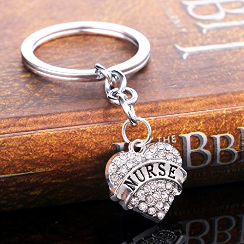 (Dalino Novelties Things Charms Rhinestone Heart Letter Pendant Crystal Keyring Handbag Car Purse Ornaments Keychain Gift ( Color : Nurse ))