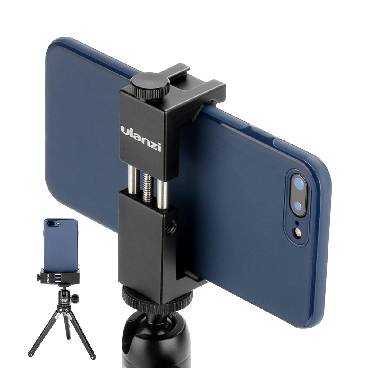 Ulanzi ST-02S Newest Aluminum Phone Tripod Mount w Cold Shoe Mount, Support Vertical and Horizontal, Universal Metal Adjustable Clamp for Apple iPhone X 8 7 6S Plus Sumsang Android Smartphones