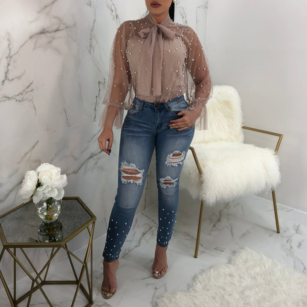 43908105e599 KINDOYO Mujer Malla Sexy Malla Transparente Blusa Perspectiva Camisa ...