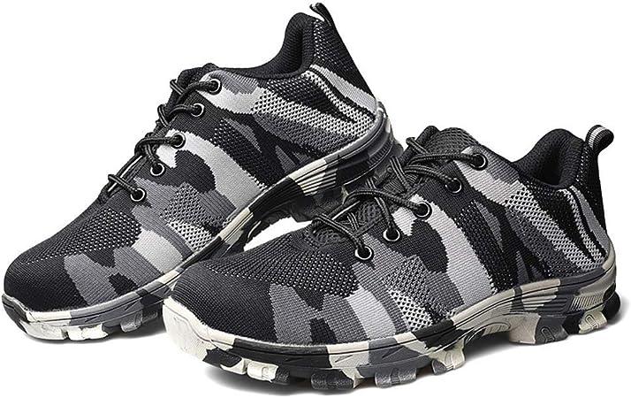 Mkiki Hombre Indestructible a Prueba de Balas Seguridad Zapatos Militar Trabajo Ligero Zapatillas - Gris, 46: Amazon.es: Hogar