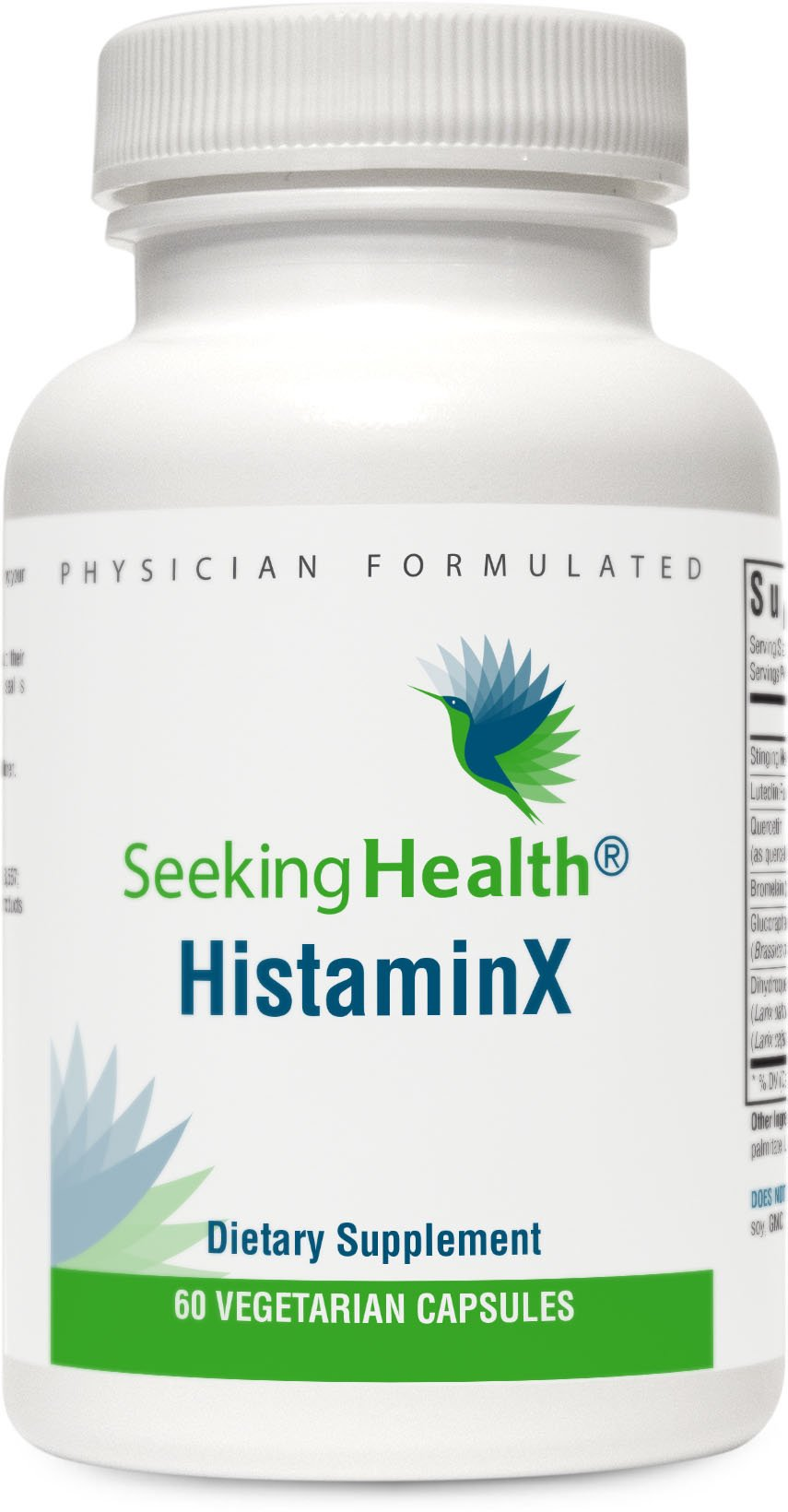 HistaminX | Natural Nettle, Quercetin, Rutin, Bromelain Blend with Broccoli Seed Extract | 60 Vegetarian Capsules | Seeking Health | Physician Formulated
