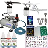 Master Airbrush Tattoo System. 3 Airbrushes, Air Compressor, Deluxe Book of 100 Stencils, 6' Hose, Airbrush Holder, 3 Quick Couplers, Black, Red & Blue Temporary Tattoo Ink in 1-oz Bottles. Now Includes a (FREE) How to Airbrush Training Book to Get You St