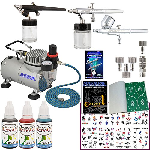 Master Airbrush Tattoo System. 3 Airbrushes, Air Compressor, Deluxe Book of 100 Stencils, 6' Hose, Airbrush Holder, 3 Quick Couplers, Black, Red & Blue Temporary Tattoo Ink in 1-oz Bottles. Now Includes a (FREE) How to Airbrush Training Book to Get You St by Master Airbrush