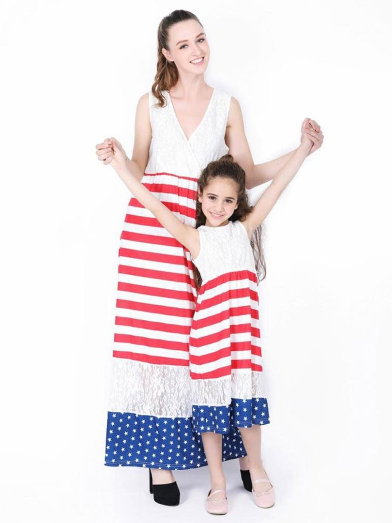 Women's Dress,Dainzuy Family Matching Clothes Mommy and Me Striped Beach Long Maxi Sundress (XL, White)