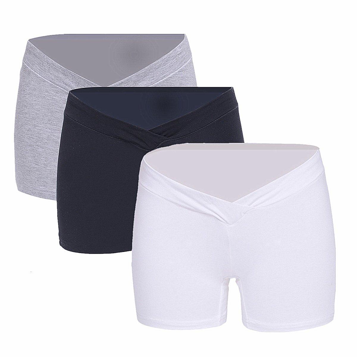 Maternity 3 Pcs Low Rise Cotton Bikini Brief Vary Colors Black White Grey XL