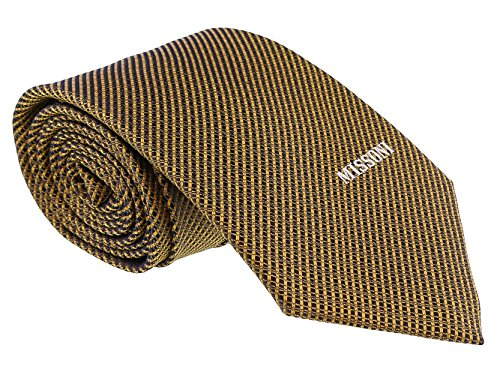 - Missoni Interlock Woven Gold Woven 100% Silk Tie for mens