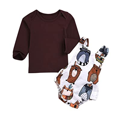 MAYOGO Conjunto Ropa Bebe Niña otoño Manga Larga Camiseta+ ...