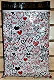 10x13 (100 Pack) Valentine's Day Love Heart Themed Designer Poly Mailers Shipping Envelopes Premium Printed Bags by Shipping Depot (Red, Black, White)