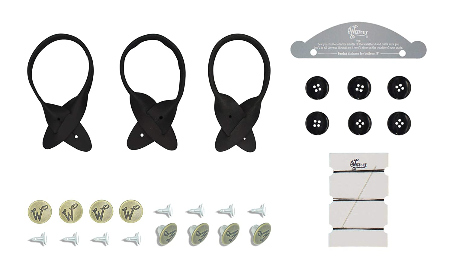 Wiseguy Leather Loops//buttons Set for Suspenders with Hammer-on Buttons