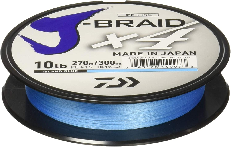 NEW DAIWA J-BRAID X4 BRAIDED LINE ISLAND BLUE 150 Yards select sizes