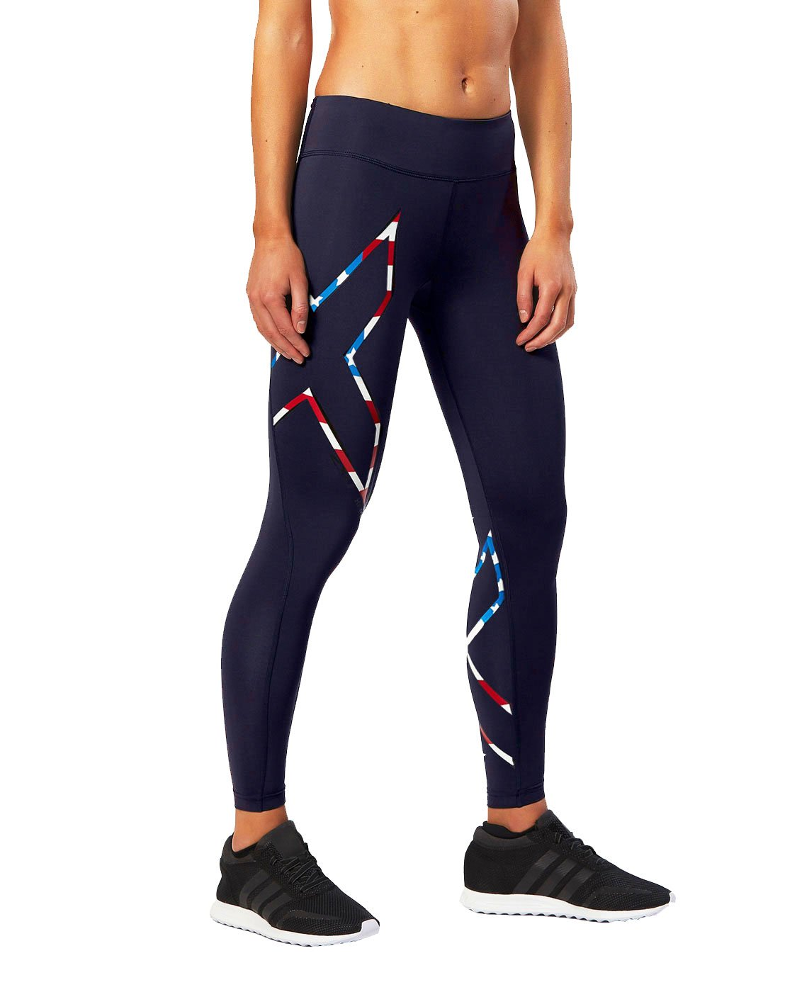 2XU Women's Mid-Rise Compression Tights, Navy/USA Stars Stripes, Medium by 2XU