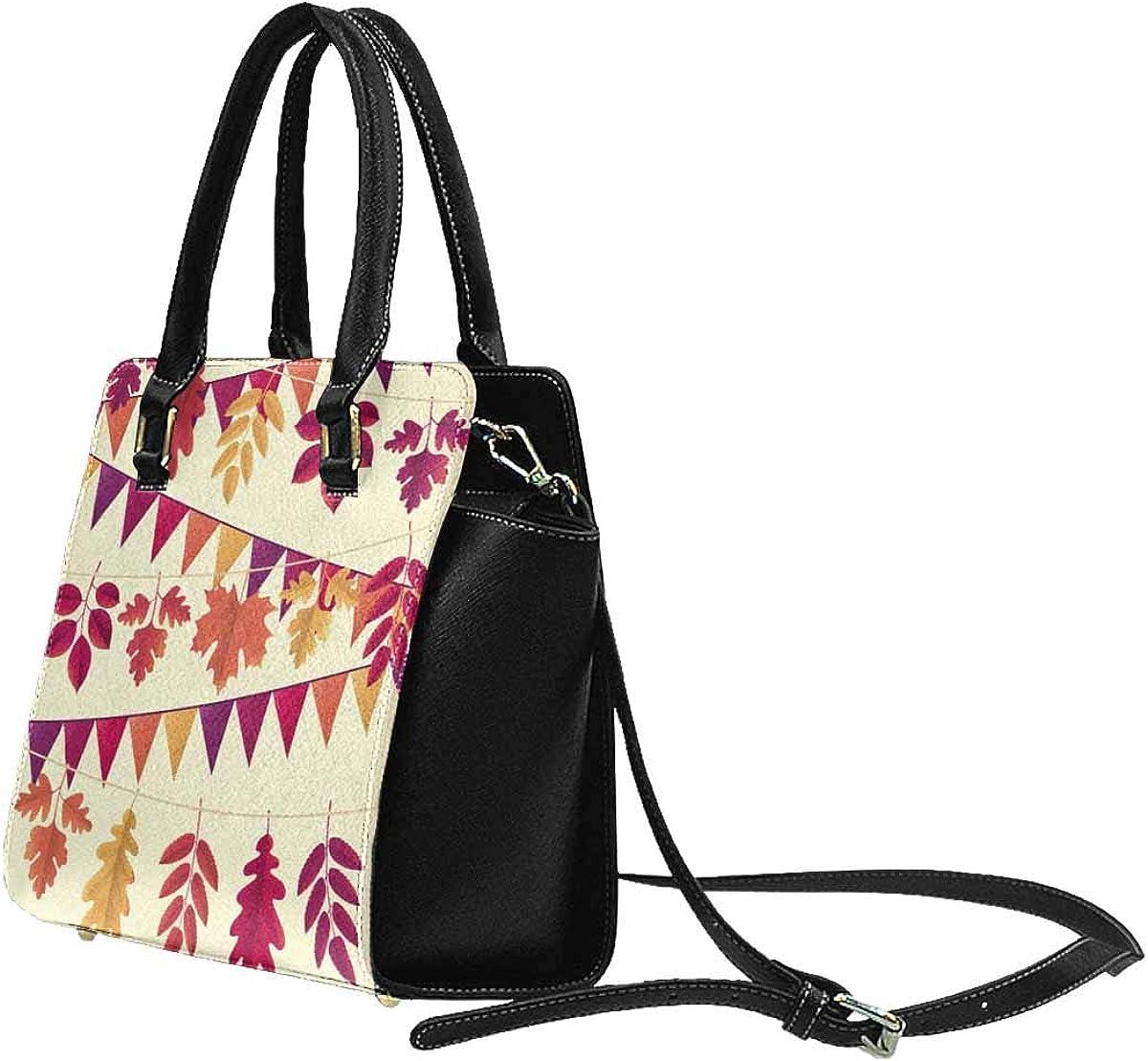 INTERESTPRINT Autumn Leaves Flag Rivet Shoulder Handbag Shoulder Bags