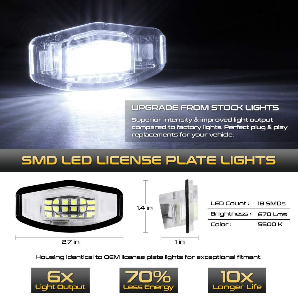 VIPMOTOZ Full LED License Plate Light Lamp Assembly Replacement For Honda Accord Sedan Odyssey Pilot Civic /& Acura MDX TSX TL ILX RDX RL 6000K Diamond White 2-Pieces
