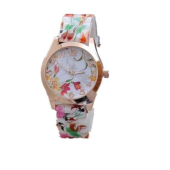 Sunn ywill Nueva puedes ver silicona estampado flores kausale Quartz Relojes de pulsera para mujeres chica