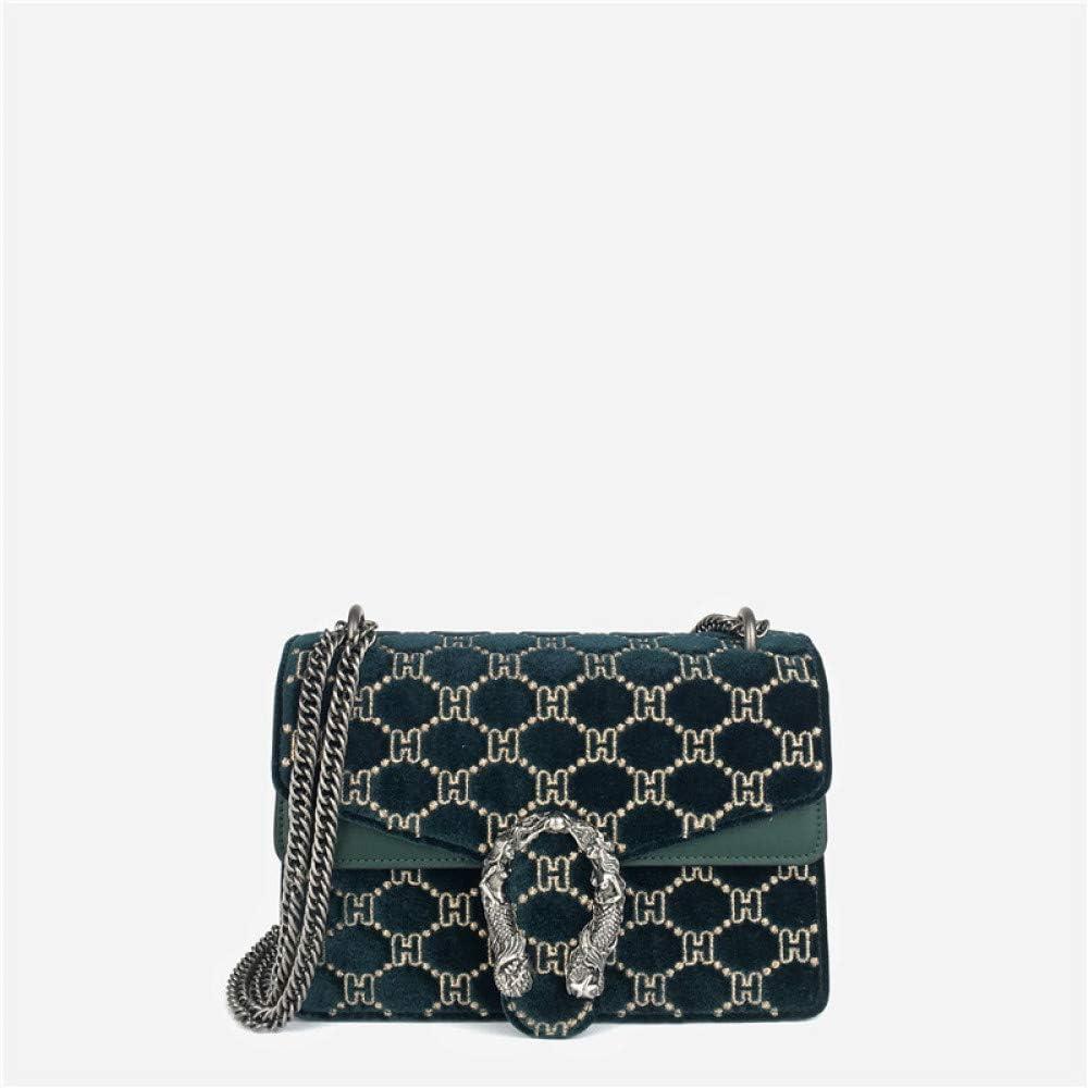 HWG-GAOYZ Womens Bag One Shoulder Crossbody Gold Velvet Handbag Mermaid Chain Small Square Bag Exquisite Fashion Green-Small