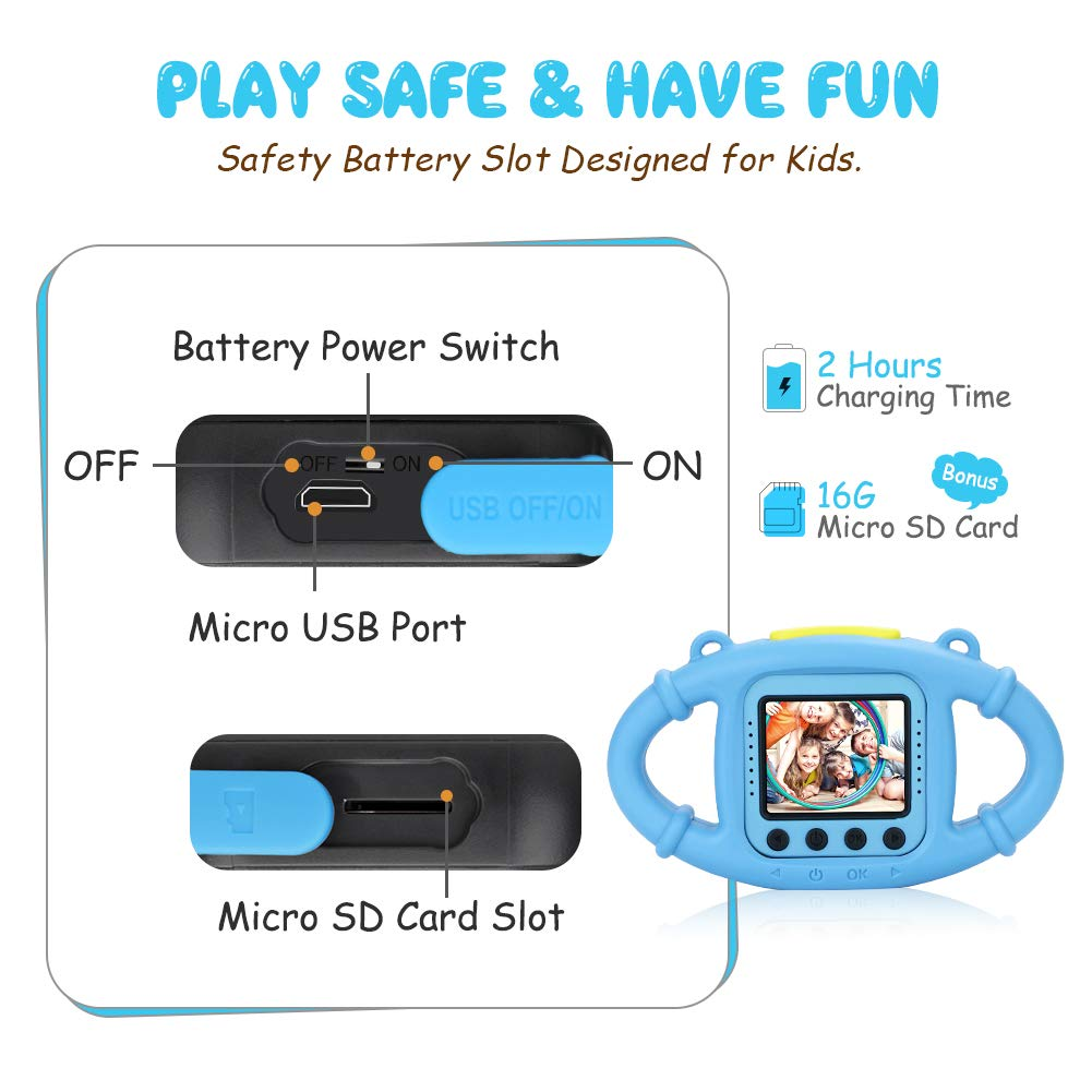 VanTop Junior K3 Kids Camera, 1080P Supported Waterproof Video Camera w/ 16Gb Memory Card, Extra Kid-Proof Silicon Case by VanTop (Image #5)
