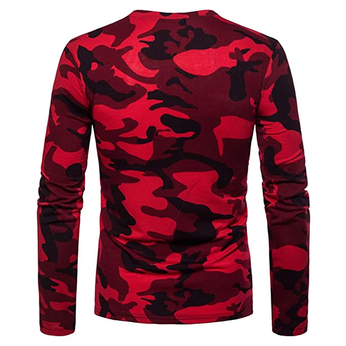 Amazon.com: Easytoy Men Casual Camouflage Crewneck Military Long Sleeve T Shirt Top: Sports & Outdoors