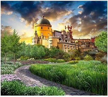 Papel Tapiz 3D Mural Decoración De Pared Castillo De Fantasía Jardín Trasero Sala De Estar Tv Fondo Papel De Pared 200 Cm * 140 Cm: Amazon.es: Bricolaje y herramientas
