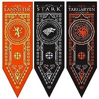 """ForPeak Game of Thrones House Banner - 3 Pack - House, Stark, Targaryen, Lannister - 18"""" X 60"""""""