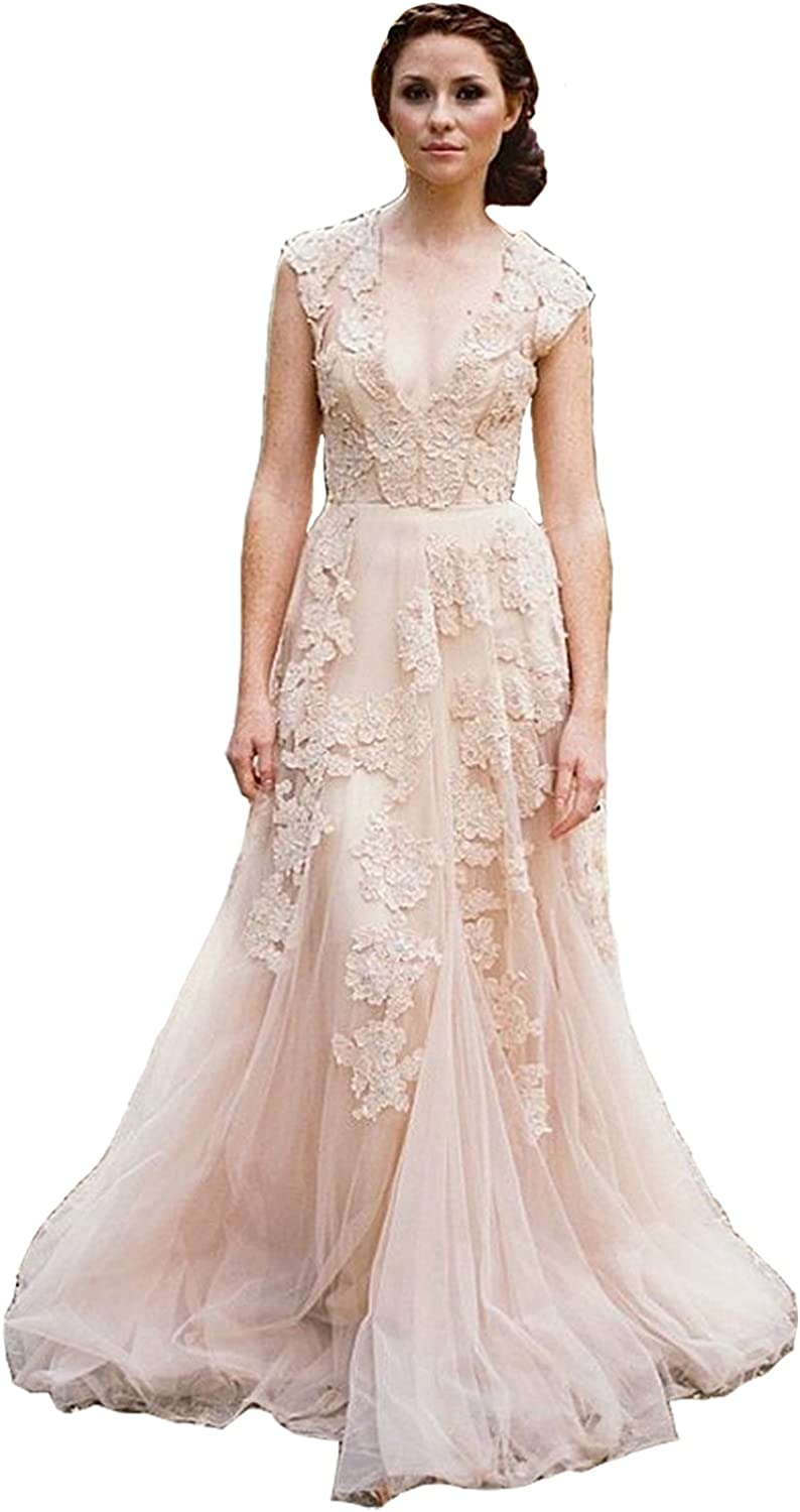 Ruisha Cap Sleeve Deep V Neck Lace Bridal Gowns Champagne Lace Wedding Dresses For Amazon Ca Clothing Accessories